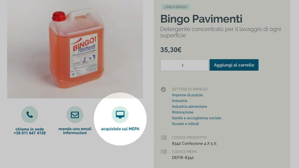 Acquista detersivi Defir sul Mepa - tasto scheda prodotti